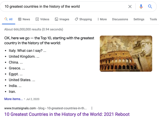 10 greatest countries snippet