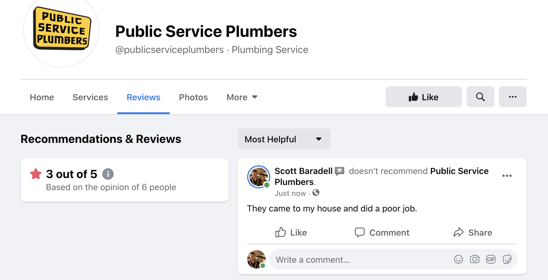 Facebook star ratings example