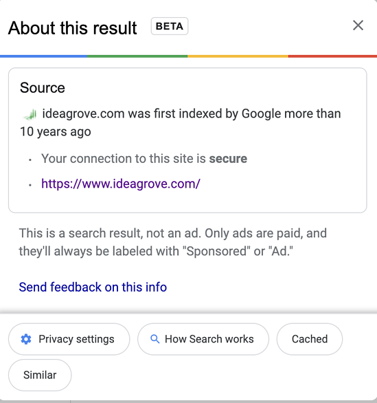 Idea Grove About this result popup